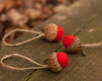 Red Felted Acorn Ornaments