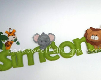 Cute safari sign / door hanger/ name banner