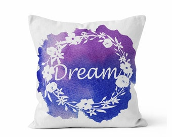 Pillow cover DREAM, Throw Pillow COVER w/optional insert, Accent Throw Pillow,  Original Watercolor Art, Bedroom Pillow, Blue and Purple