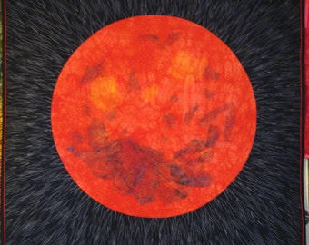 """Handmade art quilt. The Red Planet. Square quilted wall hanging. 41"""" x 41"""" modern art quilt. Textile Art."""