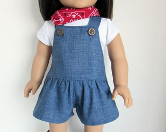 Red, White, and Blue Outfit for 18 Inch Dolls such as American Girl Romper, T-Shirt, Bandana