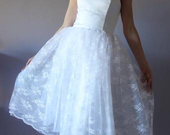 Short wedding dress, strapless wedding dress, tulle skirt dress,lace wedding dress