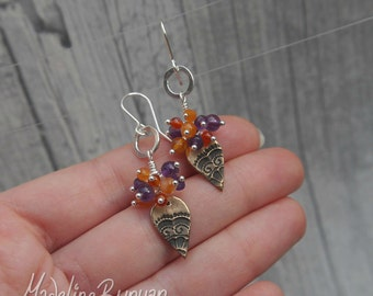 Orange and Purple, Bronze and Semi Precious gemstone cluster earrings Sterling Silver SRA. Amethyst, carnelian