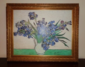 "Large Canvas Transfer Print of Van Gogh's floral still life painting titled ""Irises in Vase"" in Vintage Condition with great gold leaf frame"