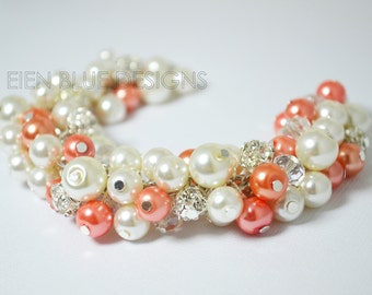 Coral and Ivory Pearl Bracelet, Ivory Pearl Cluster Bracelet, Coral & Ivory Pearl Jewelry, Bridal Jewelry, Chunky Bracelet, Cluster Bracelet