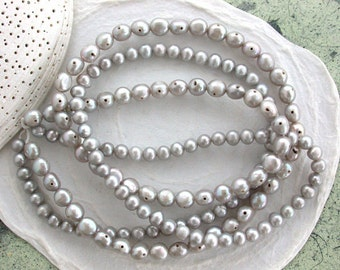 Sale, Closeout, Destash Beads, 2 Strands, Gray Fresh Water Pearls, Grey Fresh Water Pearls, 2 Hole Button Pearls, Potato Pearls DS-619