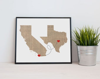 Two State Love Connection Gift - Wedding Gift  - Personalized State Heart Natural Series - Custom Location Modern Art Print  Distance