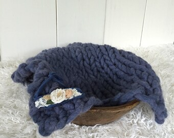 Blueberry Organic Alpaca luxury big knit layer, large, hand dyed with matching floral stretch band props, denim blue set, baby boy or girl