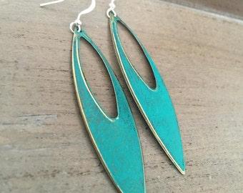 Patina earrings, Long Dangle Earrings,  mixed metals. trellis green