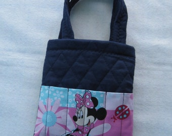 Navy quilted Minnie Mouse crayon tote bag