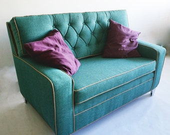 Tufted Hollywood Regency Style Loveseat Sofa in Turquoise