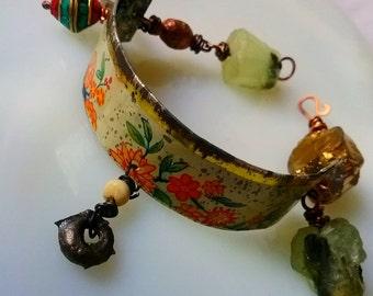 Rustic Asssemblage bracelet | Raw stones, crucifix charm, Ethiopian prayer bead, vintage tin | Charm bracelet, assemblage braclet