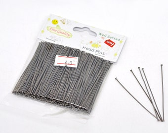 "300 Gunmetal Head Pins - WELL SORTED - 0.7mm - 21 Gauge - 6cm - 2-3/8""  - Ships IMMEDIATELY from California- F349"