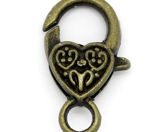 3 Heart Lobster Clasps - Bronze - LARGE - 26x14mm - Ships IMMEDIATELY  from California - FC161