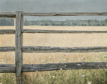Rustic Landscape Photograph 8x10, Fence Photography, Farmhouse Decor, Country Art, Farm Field Picture