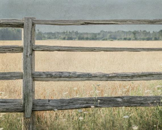 Rustic Landscape Photograph 8x10, Fence Photography, Farmhouse Decor, Country Art, Farm Field Picture