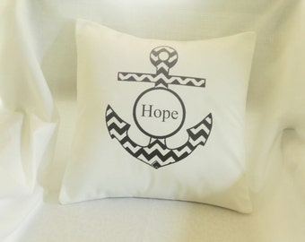 Anchor of Hope Black and White Chevron Pillow