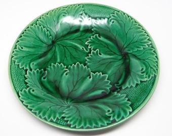 Antique Majolica Green Leaf Plate, English