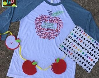 Personalized Teacher Word Art Apple Collage Teacher Tee