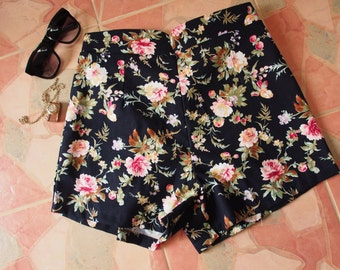 "Floral High Waist Shorts - Black with Rose - Summer Shorts - Free Size Waist 26""-28"", Hip 35""-37"""