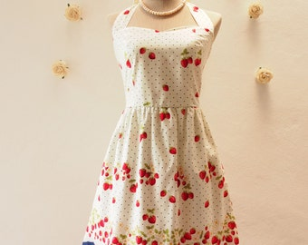 Vintage Inspired Dress Summer Dress - Strawberry Dress - Halter Dress -Casual Dress - Short Party dress