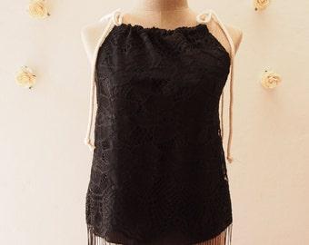 Black Lace Top Piece Bikini Best friend Black Cami Beach Clothing Summer Sea Lace See Through Cute Blouse