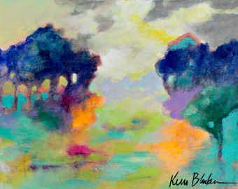 "Original, Colorful Abstract Landscape Painting, Small Canvas, Modern, Intuitive Art ""Up the Path and Behind the Trees"" 11x14"