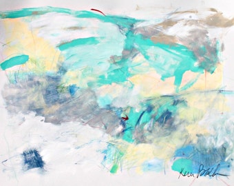 "Abstract Expressionist Work on Paper, Light, Blue, Colorful, Modern, ""Light And Airy"" Sylph"