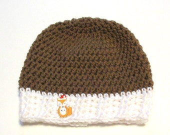 Ready to ship crochet 3-6 months Christmas fox hat.  Brown hat with white trim and fox button.  Baby christmas hat.  Ready to ship.