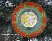 and painted Glass Yard Art, Outdoor Art Sun Catcher, Glass Garden Art, Home Décor with recycled glassware