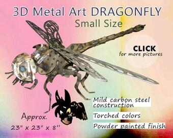 Dragonfly 3d Metal Art - Small  by Brown-Donkey Designs, Garden Art, Yard Art