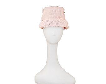 Pink Hat, Flower Pot Hat, Pink Crinoline, Pink Flowers, Vintage 1960s, Floral Hat, Mother's Day