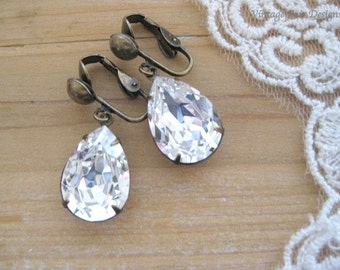 Crystal Earrings - Estate styled Clip On Earrings - created with Clear Crystals from Swarovski® -  Birthday Gift - Wedding Earrings