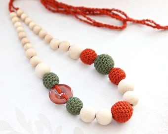 Sale! Terracotta and dark green crochet necklace with natural gem stone, ready to ship