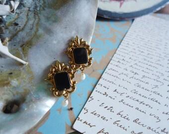 Fleur Onyx Pearl Drop Earrings by Avon