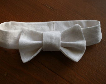 White Linen Bow Tie\Wedding\baby boy photo prop\Baptism\Communion Tie - made to order