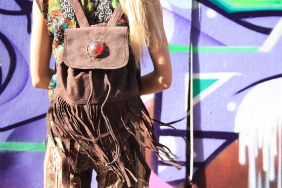 VINTAGE RUCKSACK - Suede Rucksack- Aztec Backpack- Fringe Bag- Fringe Rucksack- Rucksack- Boho Bag- Handmade Leather Bag- Tassel Bag