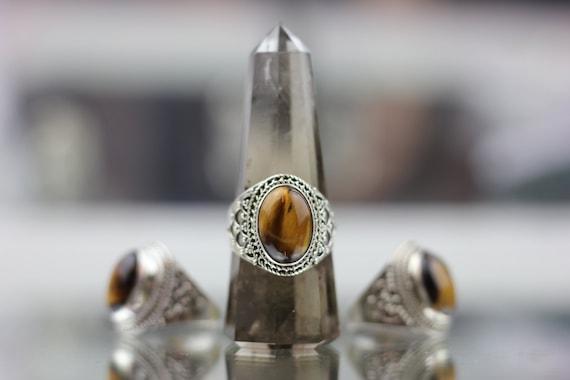 STATEMENT TIGERSEYE RING - Sterling Silver Ring- Crystal Ring- Healing Crystal Jewellery- Tiger eye ring- Statement Ring- Boho- Vintage
