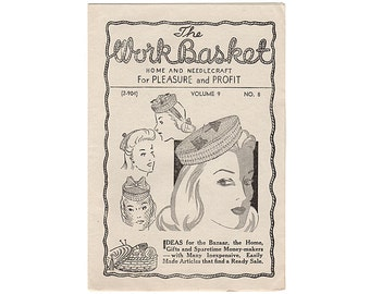 1944 Workbasket Magazine Vol 9 No 8, The Great Circle Quilt Pattern, Womens Crochet Pillbox Hat Pattern, Crocheted Gilet, Womens Vest