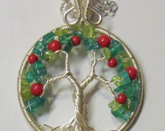 Red Apple Wire Wrapped Tree of Life Necklace, Wire Wrapped Apple Tree of Life, Silver Apple Tree of Life