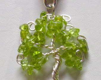 Wire Wrapped Tree of Life Pendant or Brooch, August Birthstone Tree of Life, Peridot Gemstone Tree of Life Brooch