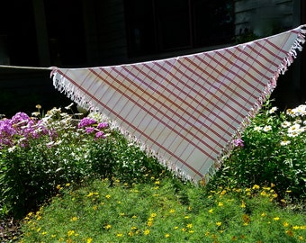 Hand Woven Red And White Striped Tablecloth Fringed German Vintage