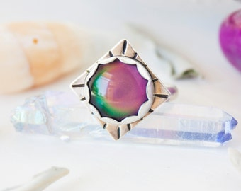 Mood Ring. Sterling Silver Mood Ring.Color changing mood ring.12mm handmade mood ring.Hand stamped boho retro color change ring.RTS SRS-MOOD