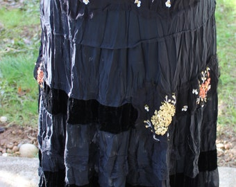 Vintage Black Velvet, Silk and Sequin Gypsy Flare Skirt Size Medium