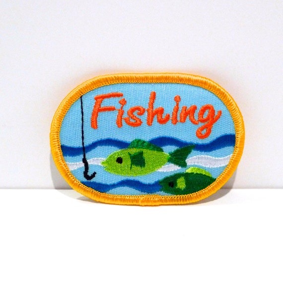 Fishing embroidered patch vintage green fish and hook sew on