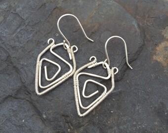 Wire Wrap Earrings - Sterling Silver Earrings - Wire Wrapped Earrings - Spiral Earrings - Sterling Silver Spirals - Geometric Jewelry