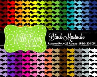 SALE  Digital Mustache Scrapbook Paper Pack - Rainbow Mustache Paper Set - Black Mustache Scrapbook Paper - Rainbow Scrapbook Paper