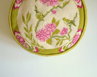 needlepoint round pillow chartreuse embroidered vintage decorative pillow