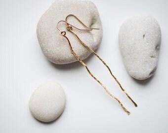 The Bar Earrings. Gold dangle earrings. Gold earrings. Minimalist earrings. Statement earrings. Geometric earrings. Drop earrings.