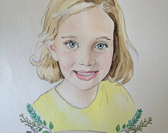 Custom Portrait Watercolor Painting Drawing